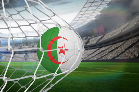 Football in algeria colours at back of net against large football stadium with lights photo
