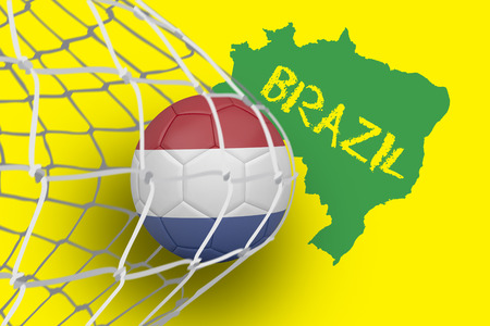 Football in holland colours at back of net against green brazil outline on yellow with text photo
