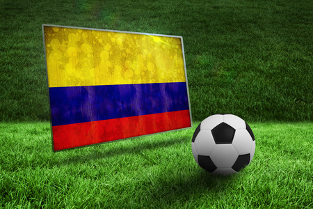Black and white football on grass against colombia flag in grunge effect photo
