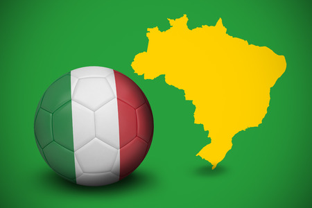 Football in italy colours against yellow brazil outline on green photo