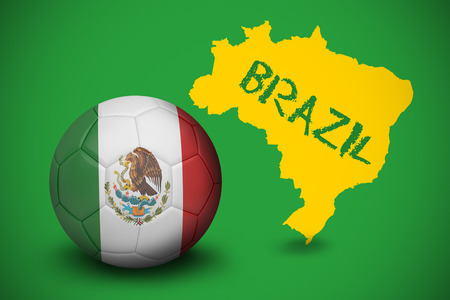 Football in mexico colours against yellow brazil outline on green with text photo