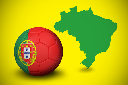 Football in portugal colours against green brazil outline on yellow  photo