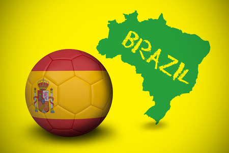 Football in spain colours against green brazil outline on yellow with text photo