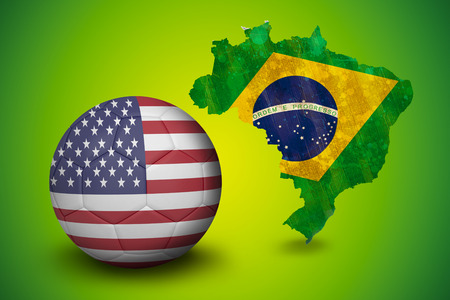 Football in america colours  against green brazil outline with flag photo