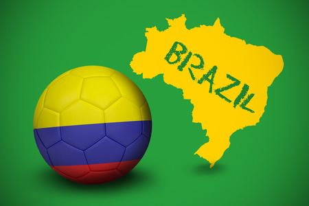 Football in colombia colours against yellow brazil outline on green with text photo