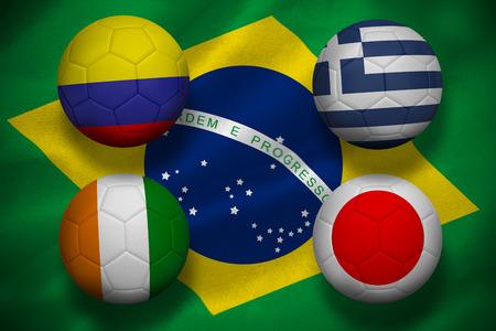 Group c  footballs on brasilian flag photo