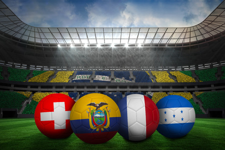 Group e world cup footballs in large stadium photo