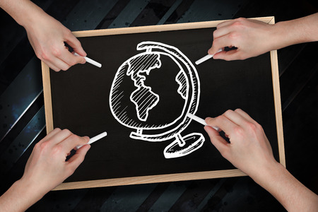 Composite image of multiple hands drawing globe with chalk against blackboard photo