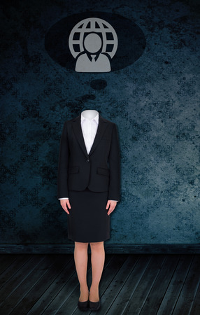 Composite image of headless businesswoman with doodle against dark grimy room photo