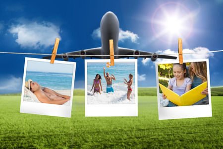 Composite image of instant photos hanging on a line against plane taking off photo