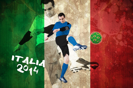 Football player in blue kicking against italy flag in grunge effect photo