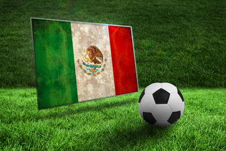Black and white football on grass against mexico flag in grunge effect photo