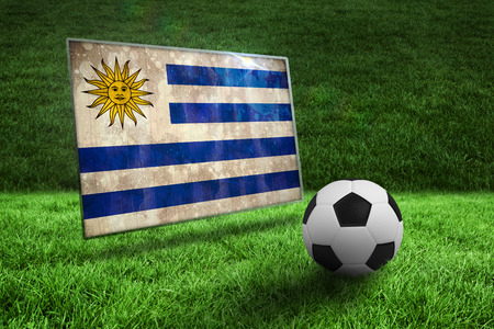 Black and white football on grass against uruguay flag in grunge effect photo