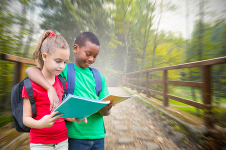 Cute pupils reading against bridge with railings leading towards forest photo