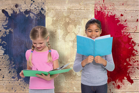 Elementary pupils reading against france flag in grunge effect photo