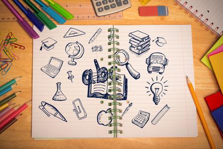 parer: Education doodles against students desk