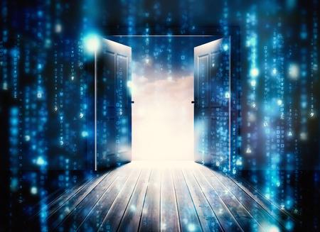 Puertas que se abren para revelar el cielo hermoso contra las líneas de letras borrosas azules que caen Foto de archivo - 30865900