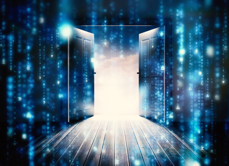 puerta abierta: Puertas que se abren para revelar el cielo hermoso contra las líneas de letras borrosas azules que caen Foto de archivo