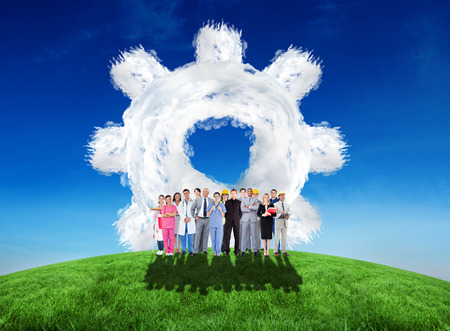 different jobs: Composite image of smiling group of people with different jobs  against cloud cog Stock Photo
