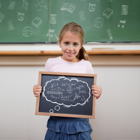 Math in thought bubble against cute pupil showing chalkboard photo