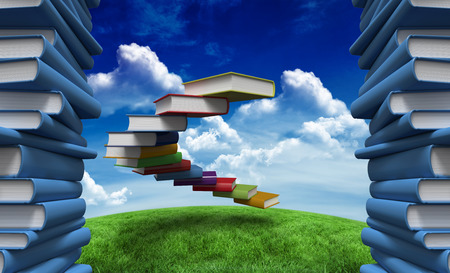 progression: Pile of books against green field under blue sky