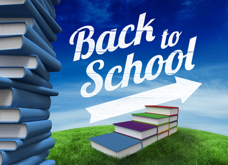 Back to school message with arrow against green hill under blue sky photo