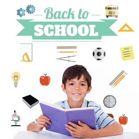 Back to school message with icons against cute pupil reading photo