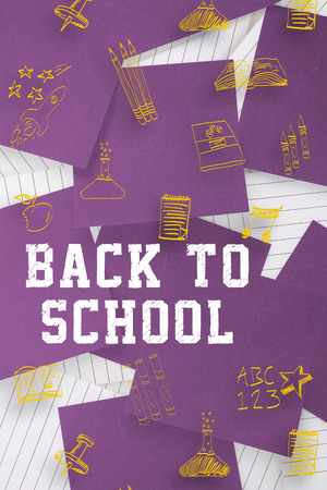 untidy text: Back to school message against purple paper strewn over notepad