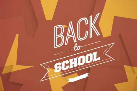 untidy text: Back to school message against brown paper strewn over orange