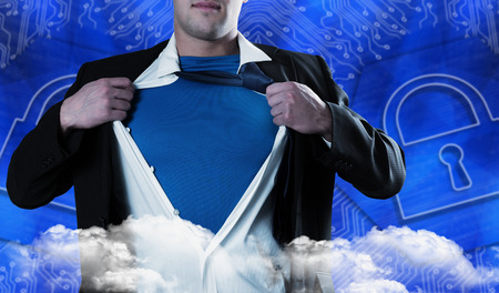 proportionate: Businessman opening his shirt superhero style against lock graphic on blue background
