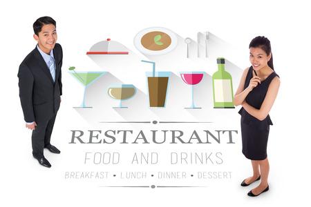 Thoughtful businesswoman against restaurant advertisement on white  photo