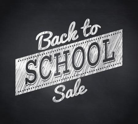 Composite image of back to school sale message against blackboard