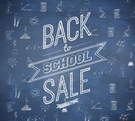 Back to school sale message against blue chalkboard photo