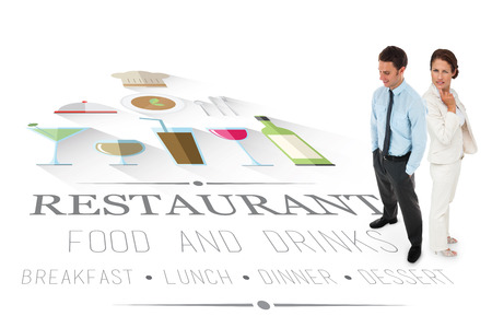 Happy businessman standing with hands in pockets against restaurant advertisement photo