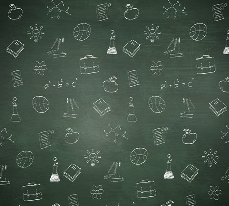 Composite image of school doodles against green chalkboard photo