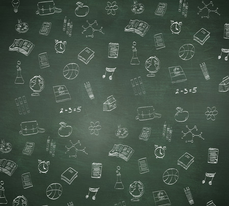 School doodles against green chalkboard photo