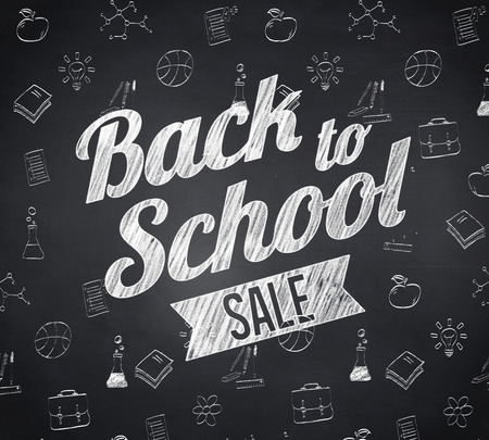 Composite image of back to school sale message against blackboard photo
