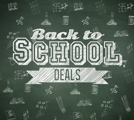 Back to school deals message against green chalkboard photo