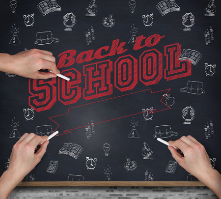 multiple image: Multiple hands writing with chalk against blackboard on wall