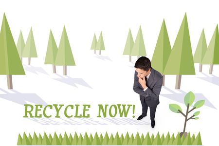 environmentalism: The word recycle now and thinking businessman touching his chin against forest with earth tree