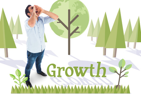 The word growth and shouting casual man standing against forest with earth tree photo