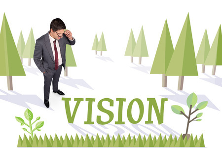 The word vision and thinking businessman touching his glasses against forest with earth tree photo