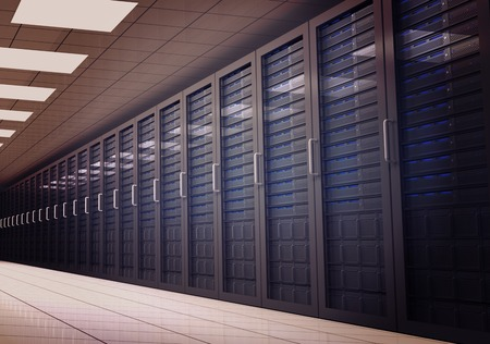 digitally  generated: Digitally generated server room with many towers Stock Photo