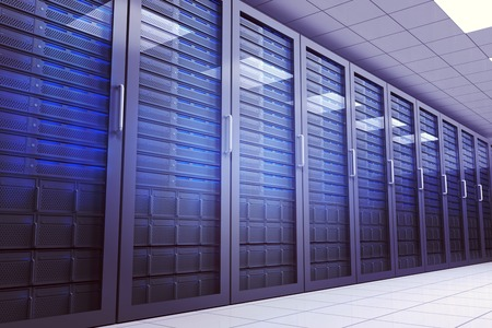 computer server: Digitally generated server room with many towers Stock Photo