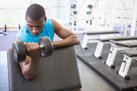 Young muscular man exercising with dumbbell in the gym photo