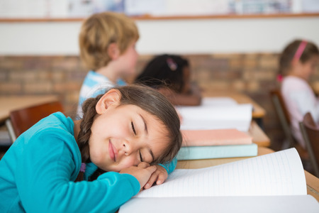 Sleeping pupil sitting at her desk at the elementary school photo