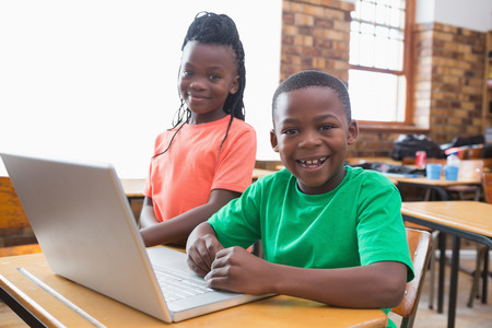 Cute pupils using laptop in classroom at the elementary school Banque d'images