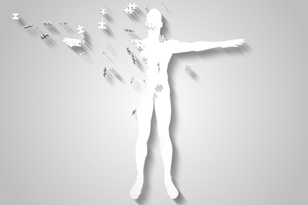 breaking up: Digitally generated White jigsaw body breaking up Stock Photo