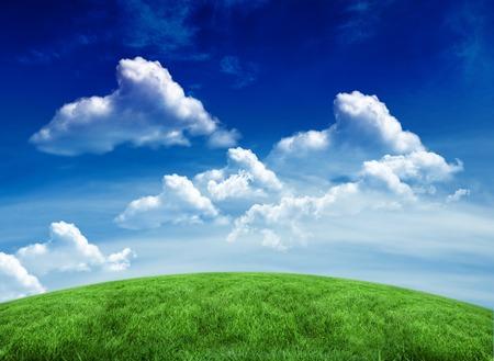 デジタル青い空の下の緑のフィールドを生成