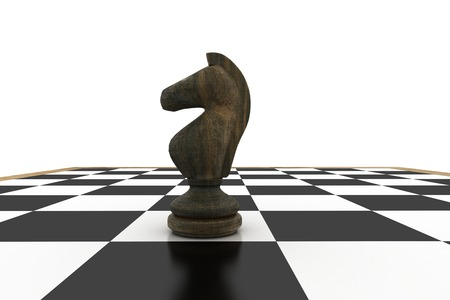 tactical: Black knight on chess board on white background